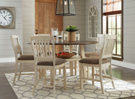 Bolanburg Two-tone 7 Pc. Round Drop Leaf Counter Table & 6 UPH Barstools