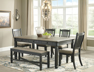 Tyler Creek Black/Gray 6 Pc. Rectangular Dining Room Table, 4 UPH Side Chairs & UPH Bench