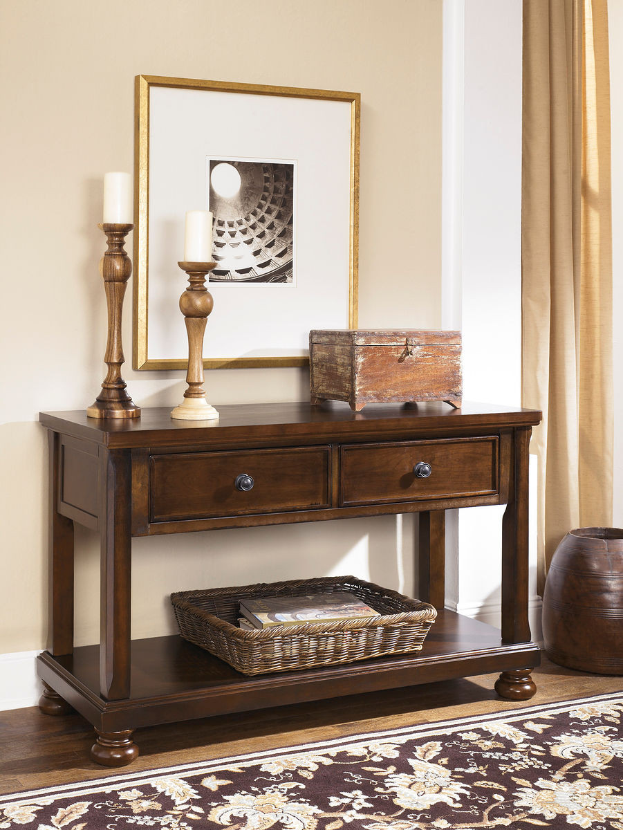 The Porter Rustic Brown Console Sofa Table available at Sweet Home ...