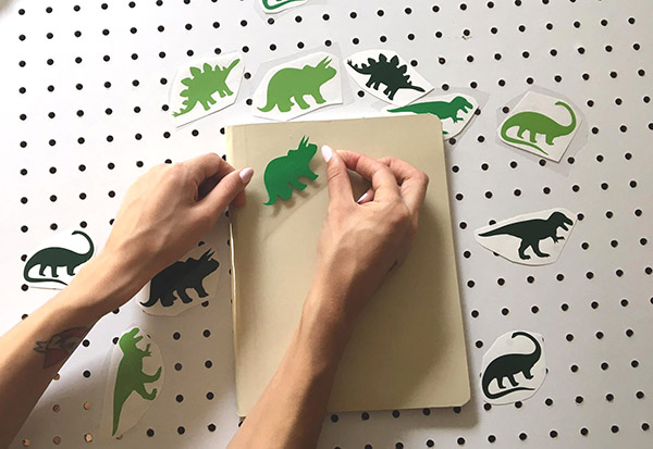 applying decal to notebook