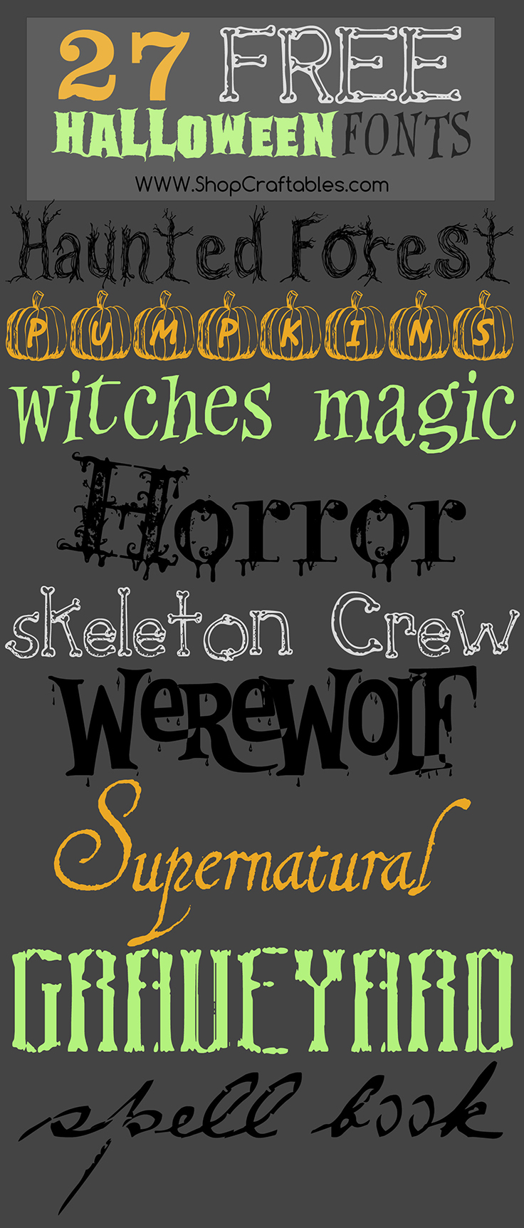 Free Halloween Fonts   Cricut and Silhouette   Craftables