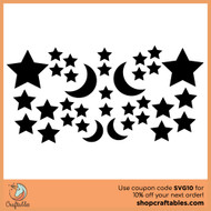 Free Stars and Moon SVG Cut File