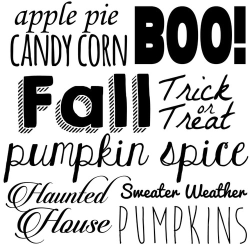 fall words svg cut files