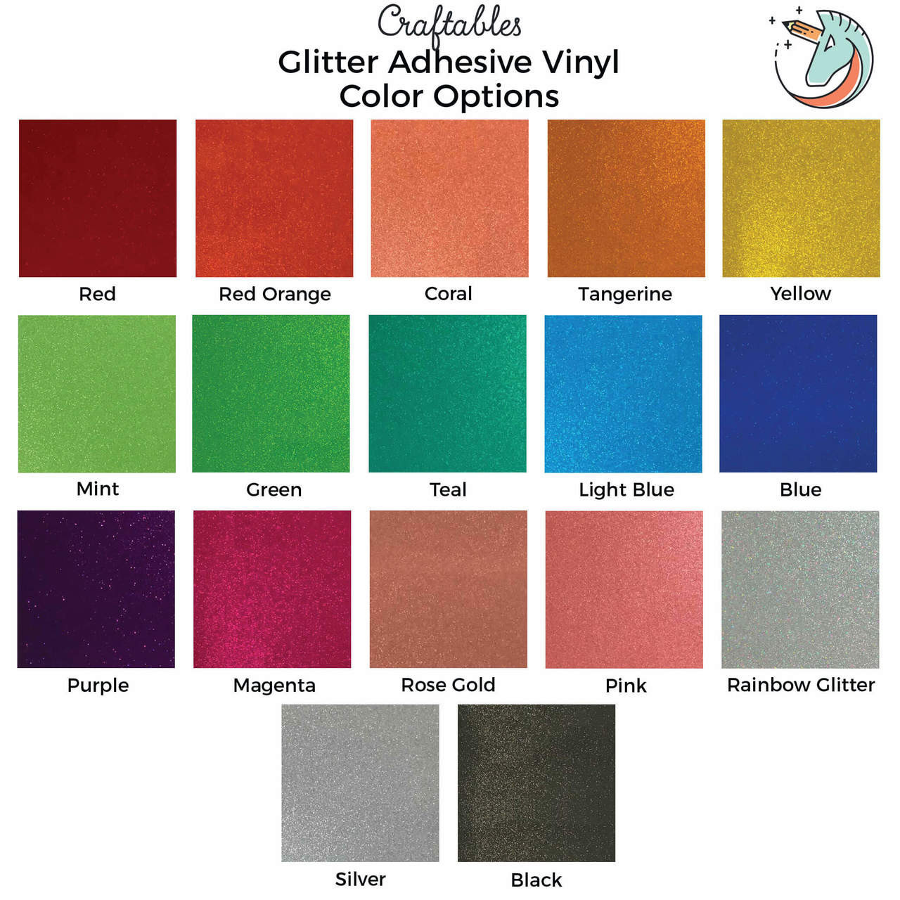 Permanent Glitter Vinyl Sparkle Vinyl Sheets Craftables
