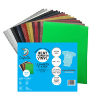 "Craftables Smooth and Glitter Starter Heat Transfer Vinyl Pack - (16) 9.8"" x 12"" Sheets"