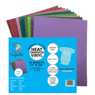 "Craftables Smooth and Glitter Starter Heat Transfer Vinyl Pack - (10) 9.8"" x 12"" Sheets"