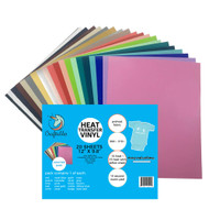 """Craftables Assorted Smooth Heat Transfer Vinyl Pack - (20) 9.8"""" x 12"""" Sheets"""