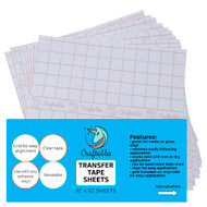 Craftables Clear Vinyl Transfer Paper Tape Sheets w/Alignment Grid And Easy Release Paper
