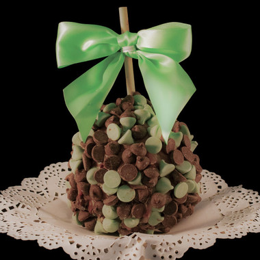 Mint Chocolate Chip Caramel Apple by DeBrito Chocolate Factory