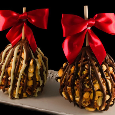 Caramel apple with extra nuts and chocolate