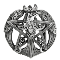 Pewter Crescent Raven Pentacle Belt Buckle