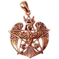 Copper Crescent Raven Pentacle Pendant