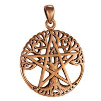 Copper Cut Out Tree Pentacle Pendant
