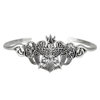 Sterling Silver Crescent Raven Pentacle Bracelet