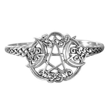 Sterling Silver Heart Pentacle Bracelet