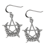 Sterling Silver Crescent Moon Pentacle Earrings