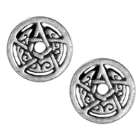 Silver Crescent Moon Pentacle Circle Stud Earrings