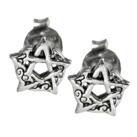 Sterling Silver Crescent Moon Pentacle Stud Earrings