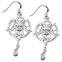 Sterling Silver Heart Pentacle Earrings with Rainbow Moonstone
