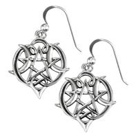 Sterling Silver Heart Pentacle Earrings
