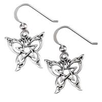 Sterling Silver Butterfly Pentacle Earrings