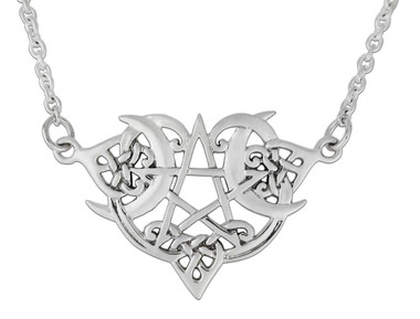 Sterling Silver Heart Pentacle Necklace