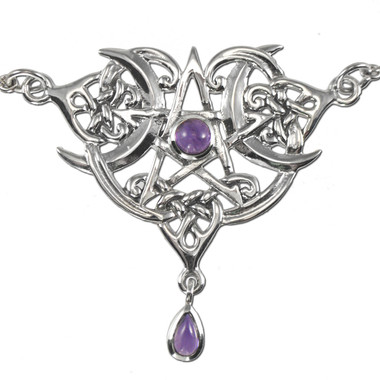 Sterling Silver Heart Pentacle Necklace with Amethyst