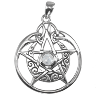 Sterling Silver Crescent Moon Pentacle Circle with White Moonstone