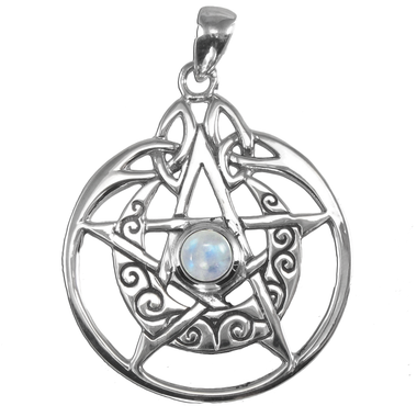 Sterling Silver Crescent Moon Pentacle Circle Pendant with Rainbow Moonstone