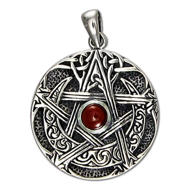 Sterling Silver Large Moon Pentacle Pendant with Garnet