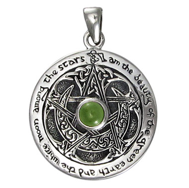 Sterling Silver Moldavite Large Moon Pentacle Pendant
