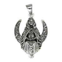Sterling Silver Seated Moon Goddess Pendant