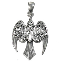 Sterling Silver Small Morrigan Raven Pendant