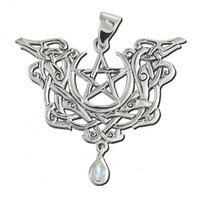 Sterling Silver Dragon Pentacle Pendant with Rainbow Moonstone