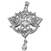Sterling Silver Heart Pentacle Pendant with Rainbow Moonstone
