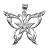 Sterling Silver Butterfly Pentacle Pendant with Rainbow Moonstone