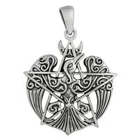 Sterling Silver Crescent Raven Pentacle Pendant