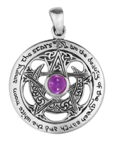 Sterling Silver Large Cut Out Moon Pentacle Pendant with Amethyst