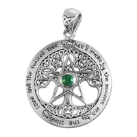 Sterling Silver Extra Large Cut Out Tree Pentacle Pendant with Malachite