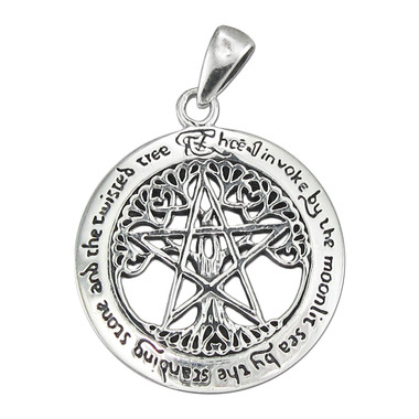 Sterling Silver Large Cut Out Tree Pentacle Pendant