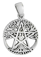 Sterling Silver Small Cut Out Tree Pentacle Pendant