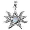 Sterling Silver Moon Phase Pendant with Rainbow Moonstone