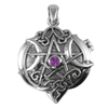 Sterling Silver Heart Pentacle Locket with Amethyst