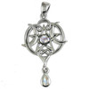 Sterling Silver Small Heart Pentacle Pendant with Rainbow Moonstone