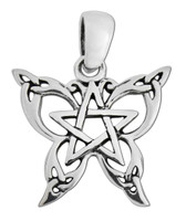 Sterling Silver Small Butterfly Pentacle Pendant