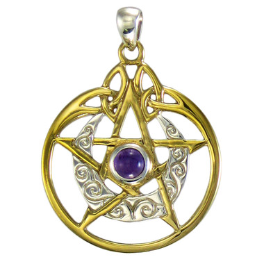 Sterling Silver Vermeil Crescent Moon Pentacle Pendant with Circle and Amethyst