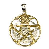 Sterling Silver Vermeil Cut Out Moon Pentacle Pendant
