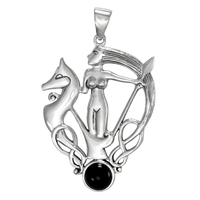 Sterling Silver Morrigan Pendant with Black Onyx