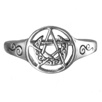 Sterling Silver Crescent Moon Pentacle Ring