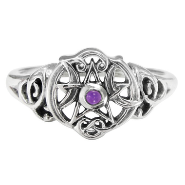 Sterling Silver Heart Pentacle Ring with Amethyst